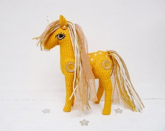 Yellow Unicorn Plush Articulated Fairytale Nursery Decor