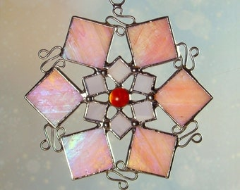 Pink Stained Glass Scrollwork Snowflake Ornament