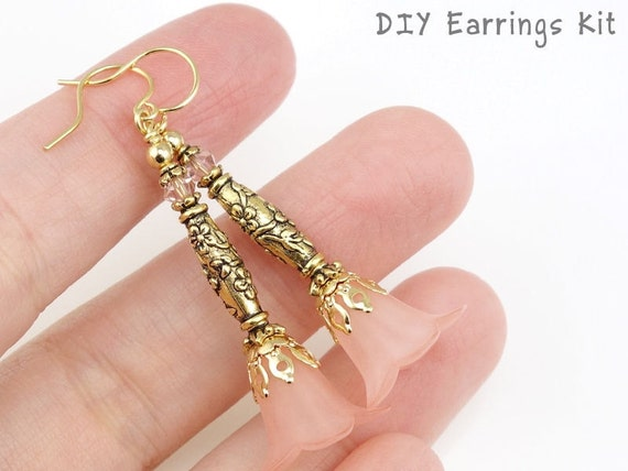 Do It Yourself Jewelry: DIY Jewelry Kit Pink And Gold Flower Earring Kit Do It