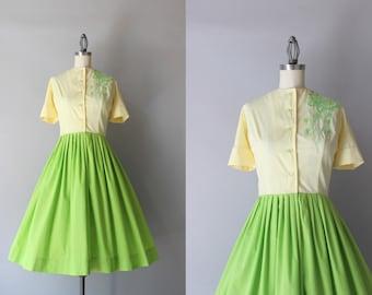 Vintage 50s Dress / 1950s Colorblock Butterfly Dress / 1960s Cotton Shirtwaist Dress