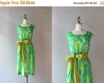 STOREWIDE SALE 1960s Dress / Vintage 60s Gauzy Cotton Paisley Dress / Sheer Lined Sixties Sleeveless Bow Belt Dress