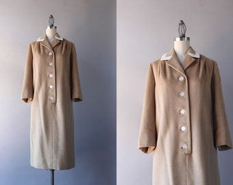 1950s Cashmere Dress / Vintage 50s 60s Camel Hair Sack Dress / 50s Camel Dress