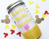 Belle /// Beauty and the Beast /// Glitter Mason Jar Tumbler // Glitter Tumbler // Glitter Glass