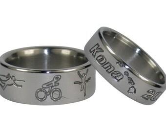 Triathlete Titanium Ring Set