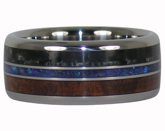 Carbon Fiber Wood and Stone and Ring