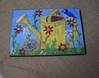 """Garden Painting Bluebird, Nest, Watering Can and Flowers By the Artist 10 1/2"""" x 7 3/4"""""""