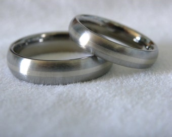 Titanium Ring SET, Domed Profile, 1mm White Gold Inlay Stripe Rings, Bands