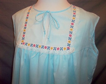 Light Blue Embroidered Nightgown Sleeveless Cotton Blend Vintage Gaymode L 60s