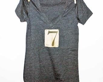 Number 7  Women's Tshirt, Print Tshirt, Vneck Tshirt, Appliqued Tshirt, Lucky No. 7, Graphic Tshirt, Vintage Style Tshirt