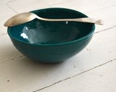 TEAL Bowl - PATCHWORK pattern on the outside - high bowl - round shaped - Wobbly Plates Series