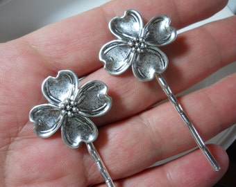 Silver Metal Dogwood Flower Charms Garden Foliage Hair Pins Clips Bobby Pins Gardeners Gift Nature Organic
