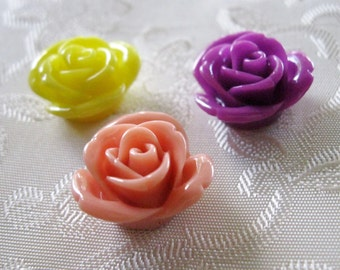Ruffled Rose Flower Cabochon 16mm No Hole 3 Colors to Choose From 948