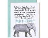 Elephant Birthday Illustrated Card//1canoe2