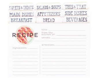 Modern Pie Recipe Cards Set of 50 with Dividers // 1canoe2 // Hand illustrated