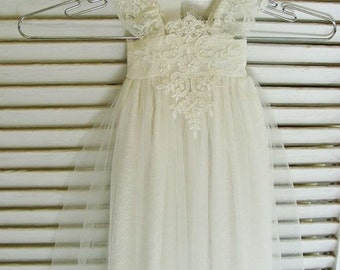 Christening dress ivory baby girl dress CUSTOM size and length