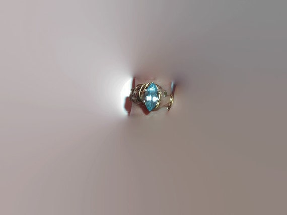 Upcycled Blue Topaz Marquise Silver and Gold Wire Wrapped Ring