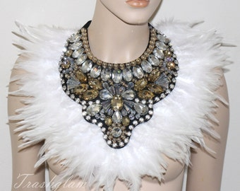 Opulence movie star Glamour ombre white ivory crystal rhinestones feathered bib statement collar shoulder HIGH fashion bling collar