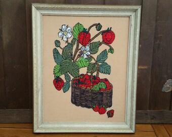 Vintage Framed Strawberry Embroidery Needlepoint
