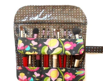 Pink Green Makeup Brush Roll, Charcoal and Brown Floral Cosmetic Brush Holder, Travel Brush Case, Makeup Brush Bag, Travel Brush Carrier