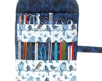 Bird Print Needle Roll Up, Knitting Needle Holder, Crochet Hook Case, DPN Double Pointed Needle Organizer, Brushes and Pencil Storage