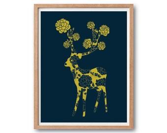 Children room decor, Girl room decorations, Kids gift, Flower deer Art Print, Deer illustration, Reindeer illustration, Animal illustration