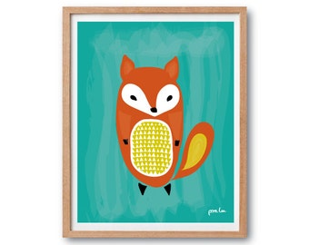 Baby Fox Art Print - Teal - Fox illustration, Animal Illustration, Watercolor Art Print, Kids room art, Nursery decor