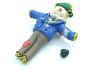 BROOCH - Scarecrow with Bird Hand Crafted Polymer Clay Halloween Idea
