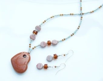 GEMSTONE SET - Goldstone Heart & Dime Beads Pendant Necklace and Earrings