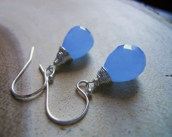 Pantone Color Of the Year,  Serenity Blue Earrings, 12mm Chalcedony Drop earrings, Sterling, Gold or Rose Gold