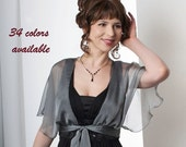 Promo Sale Silk Chiffon Shrug with Fluttering Sleeves. Collection LANA /34 colors/ Sizes XS - L