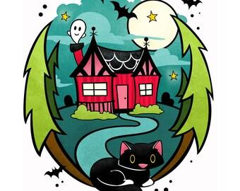 Halloween House - Cute Haunted House 8x10 Print by Geri Shields