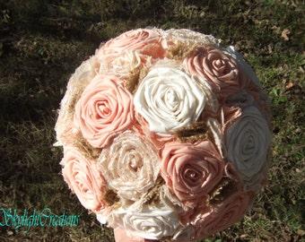 Extra Large Cotton Orange and Cream Wedding Bouquet Pearls