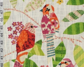 Funky mathematical bird fabric violet orange interior home decorating material cotton BTY 1 yard