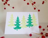 Lino Cut and Printed Green Tree Card