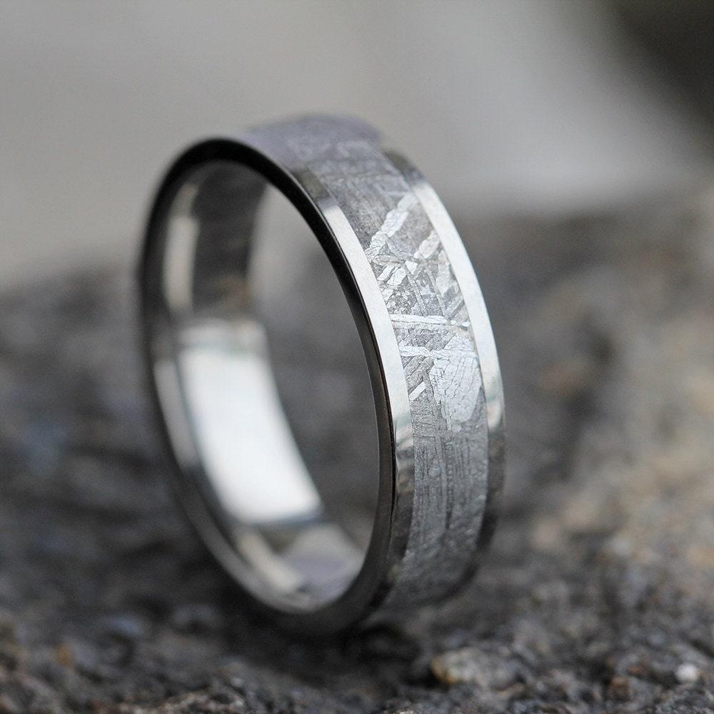 mens meteorite wedding band mens wedding ring womans wedding. Black Bedroom Furniture Sets. Home Design Ideas