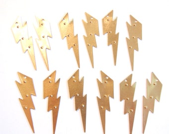 6 Pairs of Brass Lightning Bolt Charms