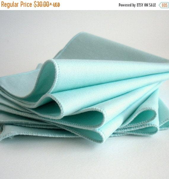Back to School SALE Organic Cloth Napkins - Eco Friendly, Organic Cotton - Lightweight, Washable, Reusable - Set of Four - Aqua Blue