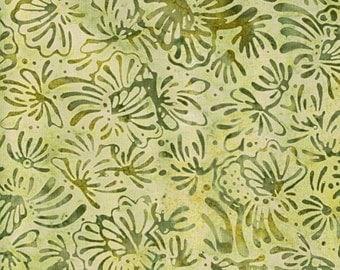 NEW - One yard - Green Floral Batik - 9237