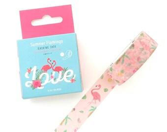 Flamingo Washi Tape - 15mm x 7 Metres - Pink Washi Tape Roll - Tropical Washi Tape - Boxed Washi Tape - Washi Tape Australia