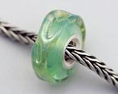 Unique Silver Wrap Green Dichroic Bead - Artisan Glass Charm Bracelet Bead (MAY-22)