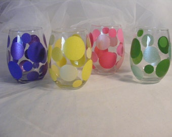 hand painted stemless wine glasses with large colorful polka dots