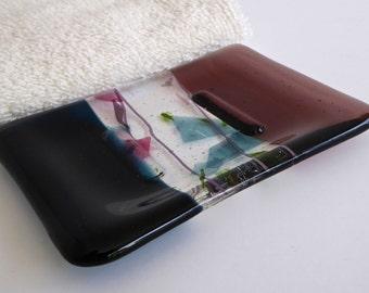 Fused Glass Soap Dish in Dark Aquamarine and Light Violet