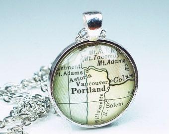Portland Map Necklace- Portland Map Pendant Jewelry from a 1929 Vintage Atlas, Oregon Map Necklace, Portland Necklace, Portland Pendant
