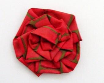 Tomato Puree Original Art Brooch - Pin / Red, Orange & Green Art Bloom Series Fashion Accessory / Wearable Art Brooch / Unique Gift Under 50