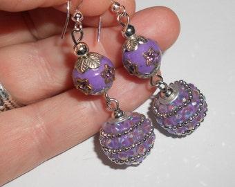 Purple earrings, funky earrings, boho earrings, hippie earrings, indie jewelry, boho chic jewelry, purple jewelry, beaded jewelry