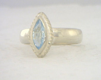 Light Blue Aquamarine Handmade Sterling Silver Solitaire Ladies Ring size 5.75