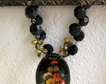 Chunky Choker, Black Choker, Thick Choker, Flower Pendant, Black Flower, Handmade