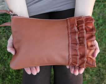 Brown Leather Clutch with Ruffles - Handmade Ruffled Wristlet - Gifts for her - Leather Evening Bag -