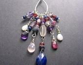Long Gemstone Charm Necklace, Long Boho Necklace, February Birthstone, January Birthstone, Jewel Tone Necklace