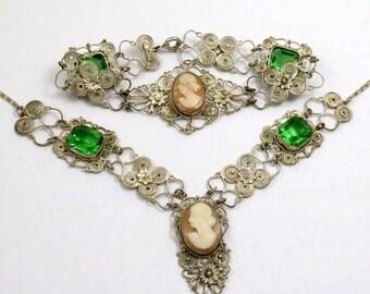 Vintage Silver Filigree Cameo Necklace Bracelet Set